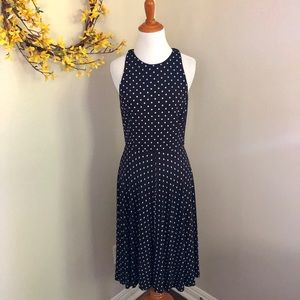 Lauren Ralph Lauren Poka Dot Midi Dress Navy